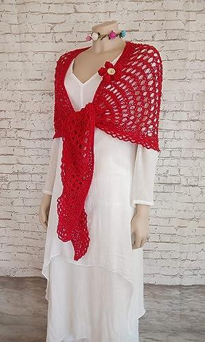 Chal de algodón para mujer en color rojo, Tejido a mano.: Amazon ...