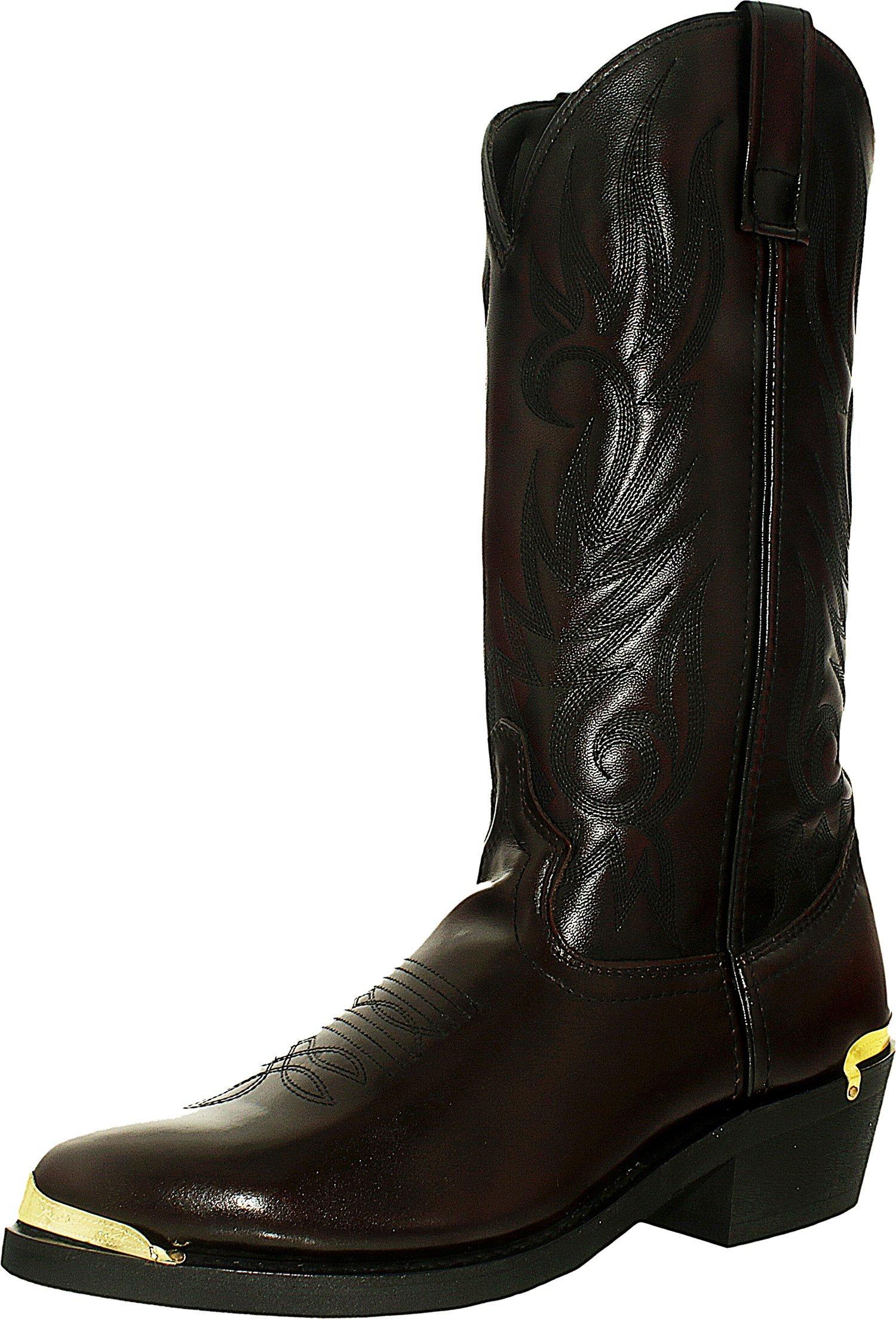 Laredo Mens Black Cherry Leather McComb R Toe 13in Cowboy Boots 7 EW