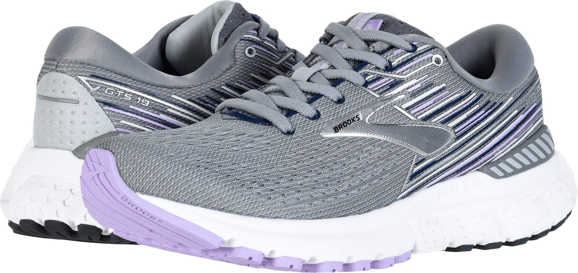 Brooks Women's Adrenaline GTS 19 Grey/Lavender/Navy 10 B US by Brooks