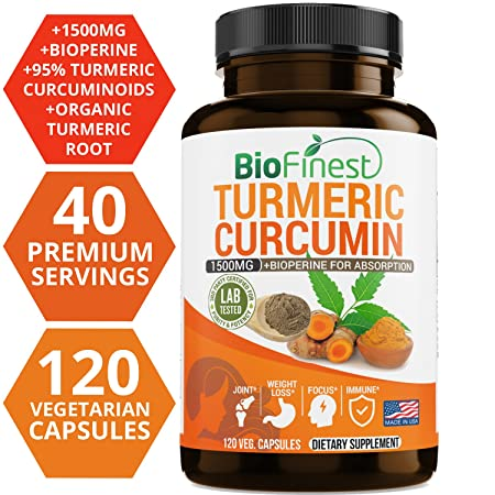 Biofinest Turmeric Curcumin – 1500mg with Bioperine Black Pepper – Made in USA – Joints Support and Anti Aging Supplement with 95 Standardized Curcuminoids 120 Vegetarian Capsules