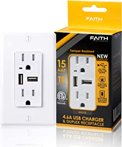 Faith 4.6A USB Outlet High Speed Charger and 15A Decorator Tamper-Resistant Duplex Receptacle with Wall Plate, 1-Pack, White