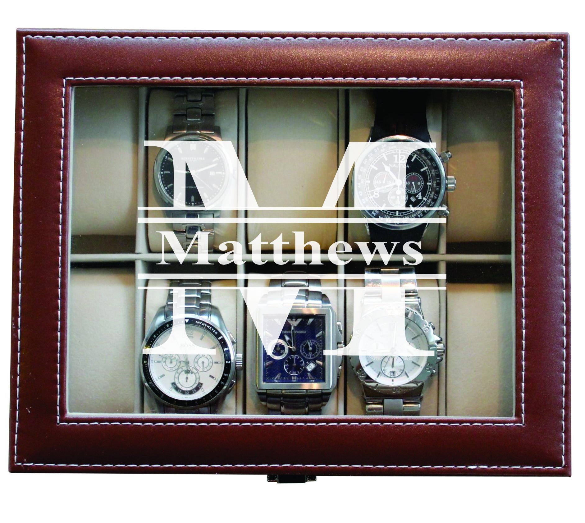 Engraved Personalized Brown Watch Storage Box Case - Name Initial - Groomsmen Fathers Day Gift - Custom