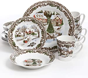 Gibson Home Christmas Toile 16 Piece Dinnerware Set, Multicolor - 102001.16RM