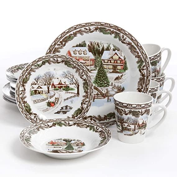 Gibson Home Christmas Toile 16 Piece Dinnerware Set, Multicolor - 102001.16RM best christmas plate sets
