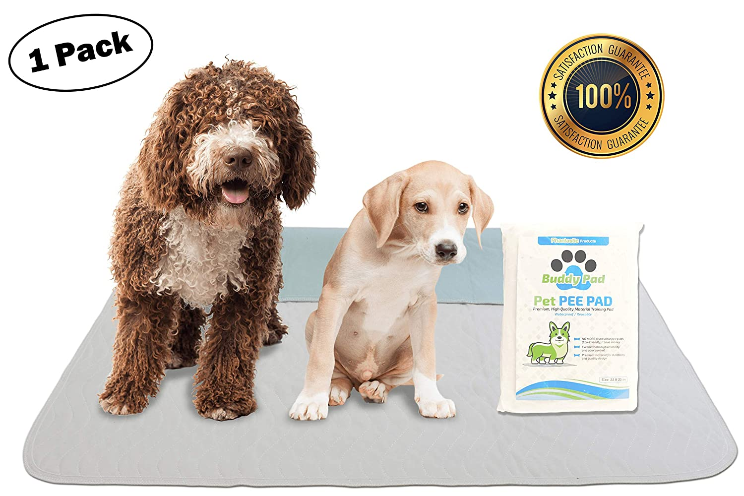 Buddy Pad Washable Training Dog Pee Pads, Large Reusable Whelping Pad for  Dogs and Waterproof for Travel - Pet Incontinence Potty Mat for Puppy, Non