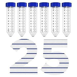 50ml Plastic Centrifuge Tubes, Membrane Solutions Test Tubes Sterile PP Conical Centrifuge Tube, Non- Pyrogenic, DN/RNase Free, Pack of 25