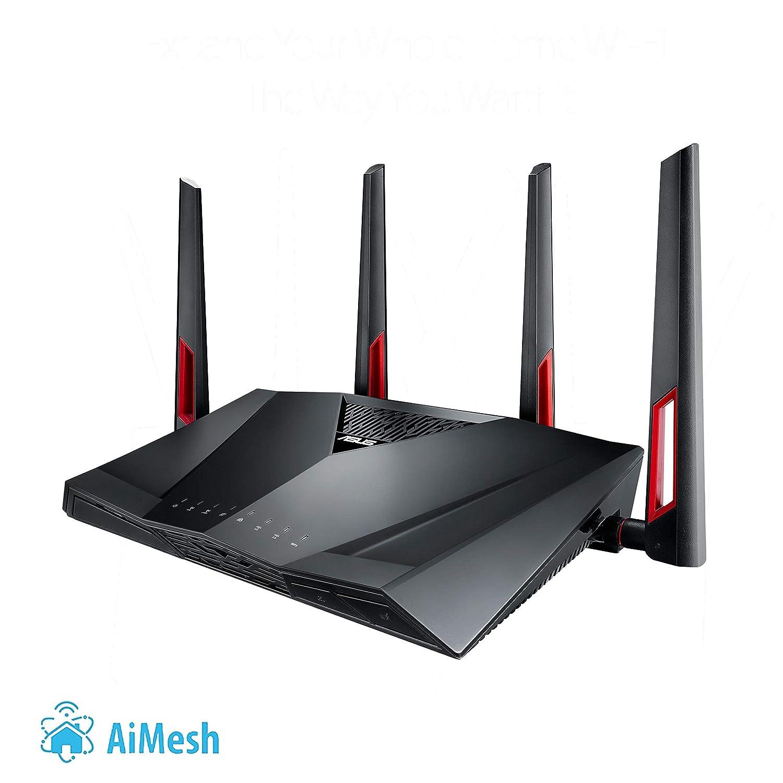 ASUS RT-AC88U - Router Gaming AC3100 Doble Banda Gigabit (triple VLAN, Ai-Mesh soportado, WTFast acelerador de juegos, compatible con DD-WRT y con Ai ...