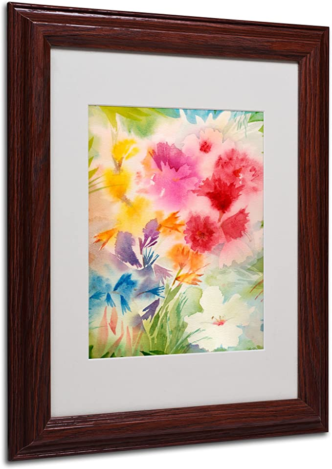 Amazon Com Trademark Fine Art Bright Garden Matted Framed Art By Sheila Golden In Wood Frame 11 By 14 Inch Artwork Wall Art