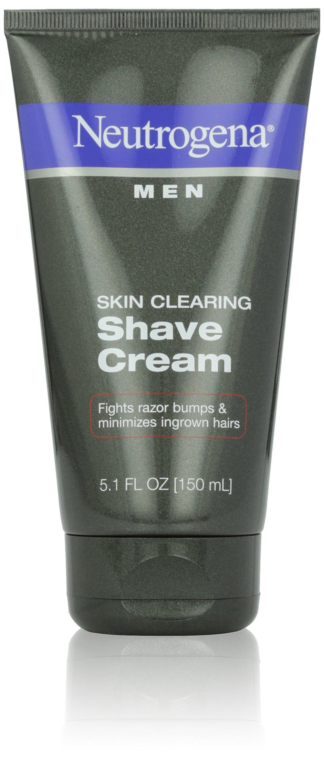 Neutrogena Men Skin Clearing Shave Cream, Oil-Free Shaving Cream to Help Prevent Razor Bumps & Ingrown Hairs, 5.1 fl. oz (Pack of 6) by Neutrogena