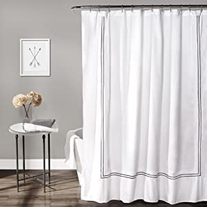 Lush Decor Hotel Collection Shower Curtain Fabric Minimalist Plain Style Bathroom Design, 72