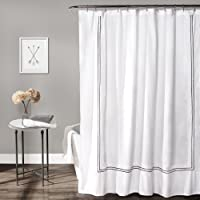 """Lush Decor Hotel Collection Shower Curtain, 72"""" by 72"""", White/Gray"""