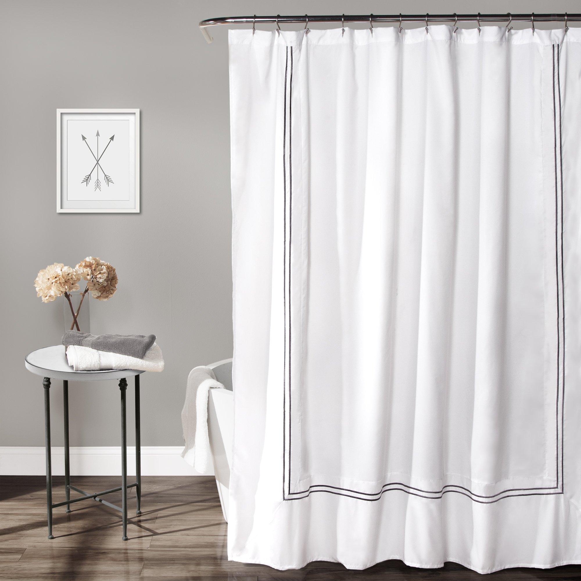Lush Decor Hotel Collection Shower Curtain, 72'' by 72'', White/Gray