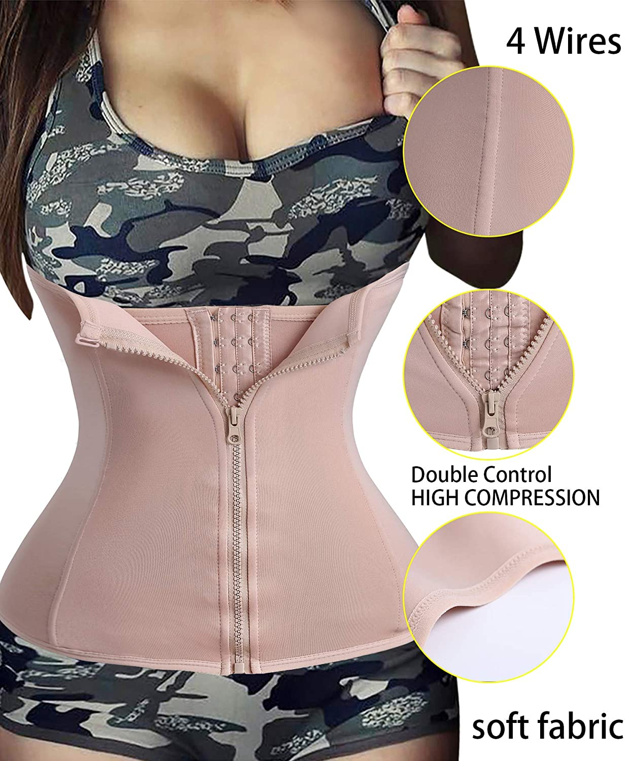 c3e421ccc25 Ursexyly Double Control Waist Trainer Corset Body Shaper Tummy Fat Burning  for Hourglass at Amazon Women s Clothing store