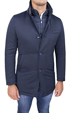 Giubbotto giaccone uomo sartoriale blu invernale slim fit giacca soprabito  elegante con gilet interno (S 122e9f9ebef