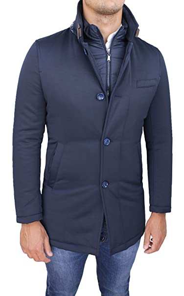 newest b0783 84947 Giubbotto giaccone uomo sartoriale blu invernale slim fit giacca soprabito  elegante con gilet interno