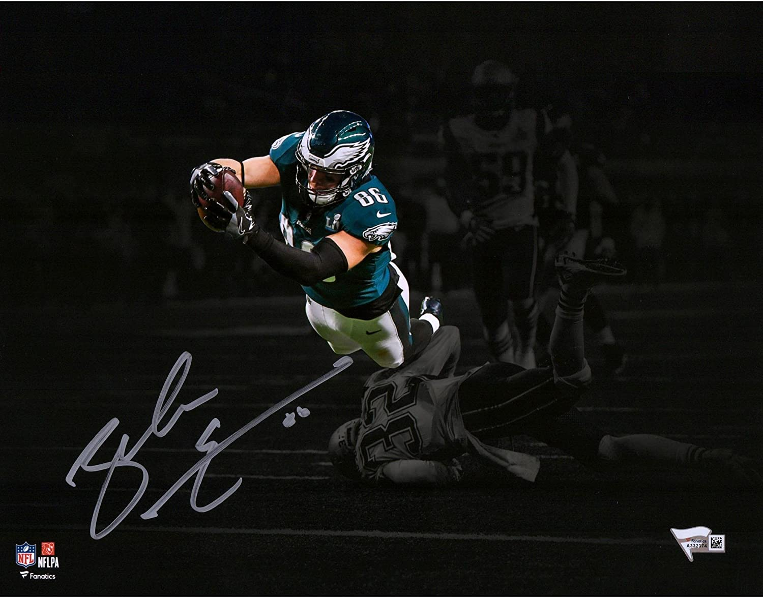 Zach Ertz Philadelphia Eagles Autographed 11' x 14' Spotlight Super Bowl LII Photograph - Fanatics Authentic Certified