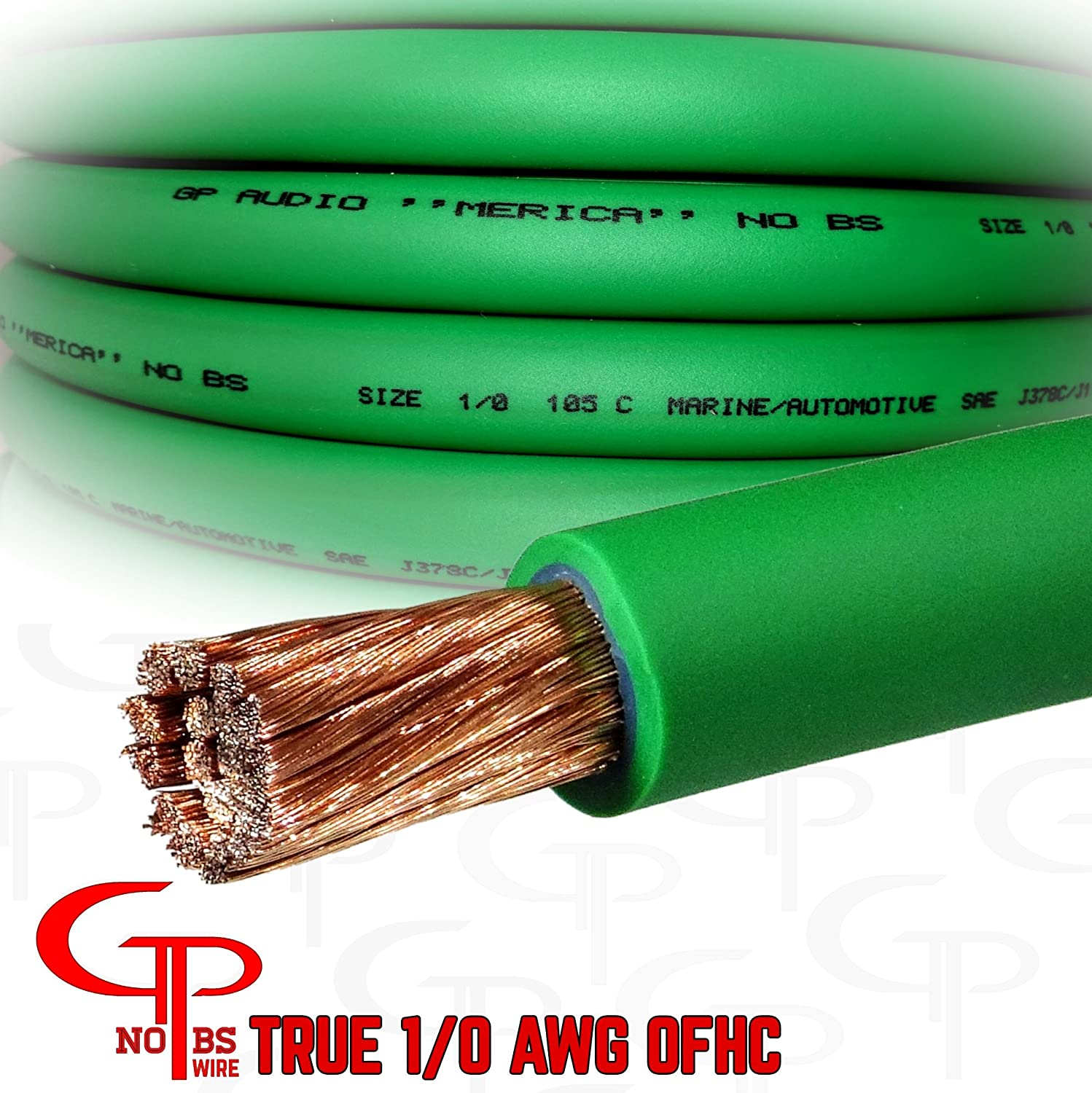 Amazon Com 15 Ft True Awg 1 0 Gauge Ofhc Green Power Wire Ground Cable Gp Car Audio Usa Made Automotive