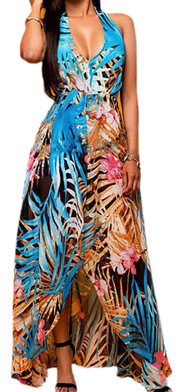 erdbeerloft - Damen Blue Tropical Maxikleid , XS-XL, Mehrfarbig