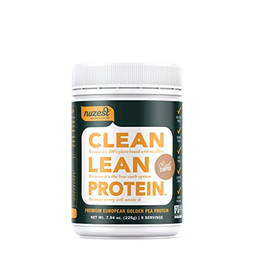 Nuzest Clean Lean Protein – Premium Vegan Protein Powder, Plant Protein Powder, European Golden Pea Protein, Dairy Free, Gluten Free, GMO Free, Naturally Sweetened, Real Coffee, 9 Servings, 7.9 oz