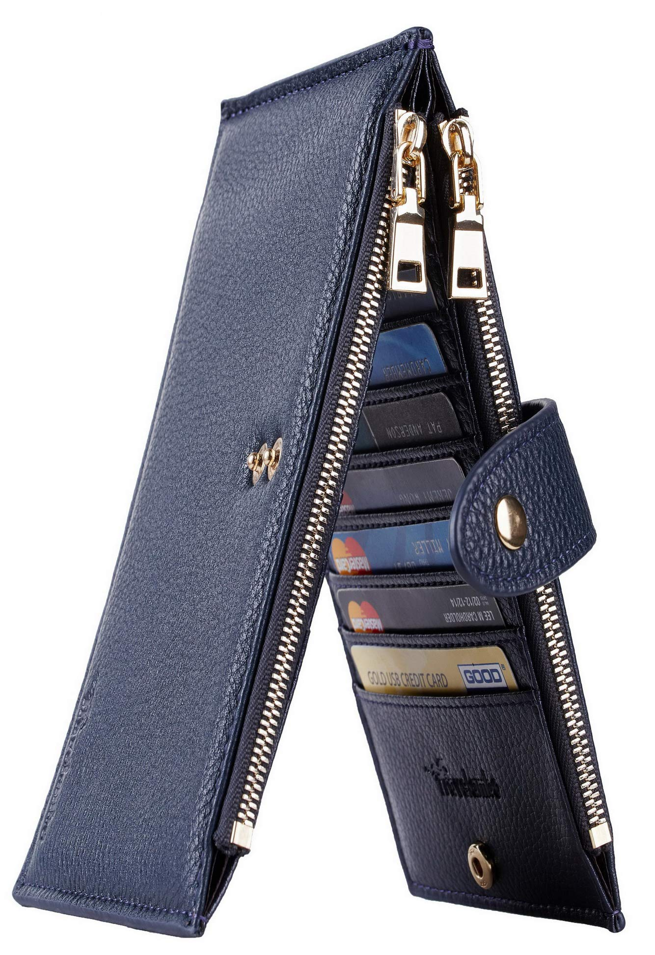 Womens Walllet RFID Blocking Bifold Multi Card Case Wallet with Zipper Pocket (Chelsea Blue Navy) by Excliria