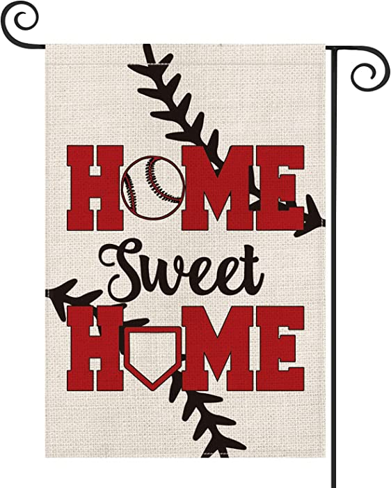 AVOIN Baseball Garden Flag Vertical Double Sided Home Sweet, Bat Ball Sport Softball Flag Yard Outdoor Decoration 12.5 x 18 Inch