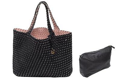 Top Qualität mäßiger Preis suche nach dem besten Wende Tasche Shopper geflochten mit extra Tasche Bag in Bag Flechtwerk  Umhängetasche Rose Schwarz
