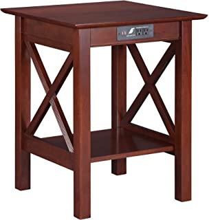 Lexi Printer Stand With Charging Station, Walnut