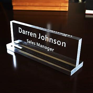 Amazon.com : Acrylic Name Plate Office Desk Bar Custom ...