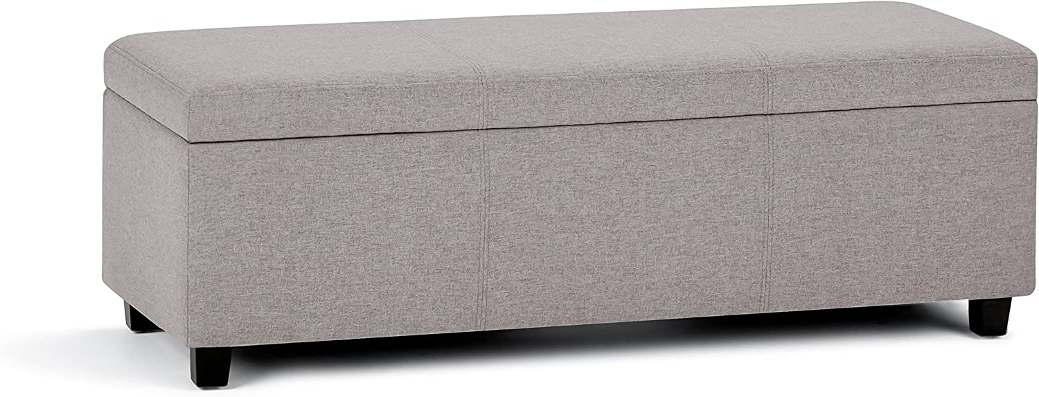 SIMPLIHOME Avalon 48 inch Wide Rectangle Lift Top Storage Ottoman Bench in Upholstered Cloud Grey Linen Look Fabric with Large Storage Space for the Living Room, Entryway, Bedroom, Contemporary