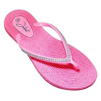 Damen Strass Badelatschen Zehentrenner Strandschuhe Slipper Schuhe Gr. 36-41 (37, Weiss)