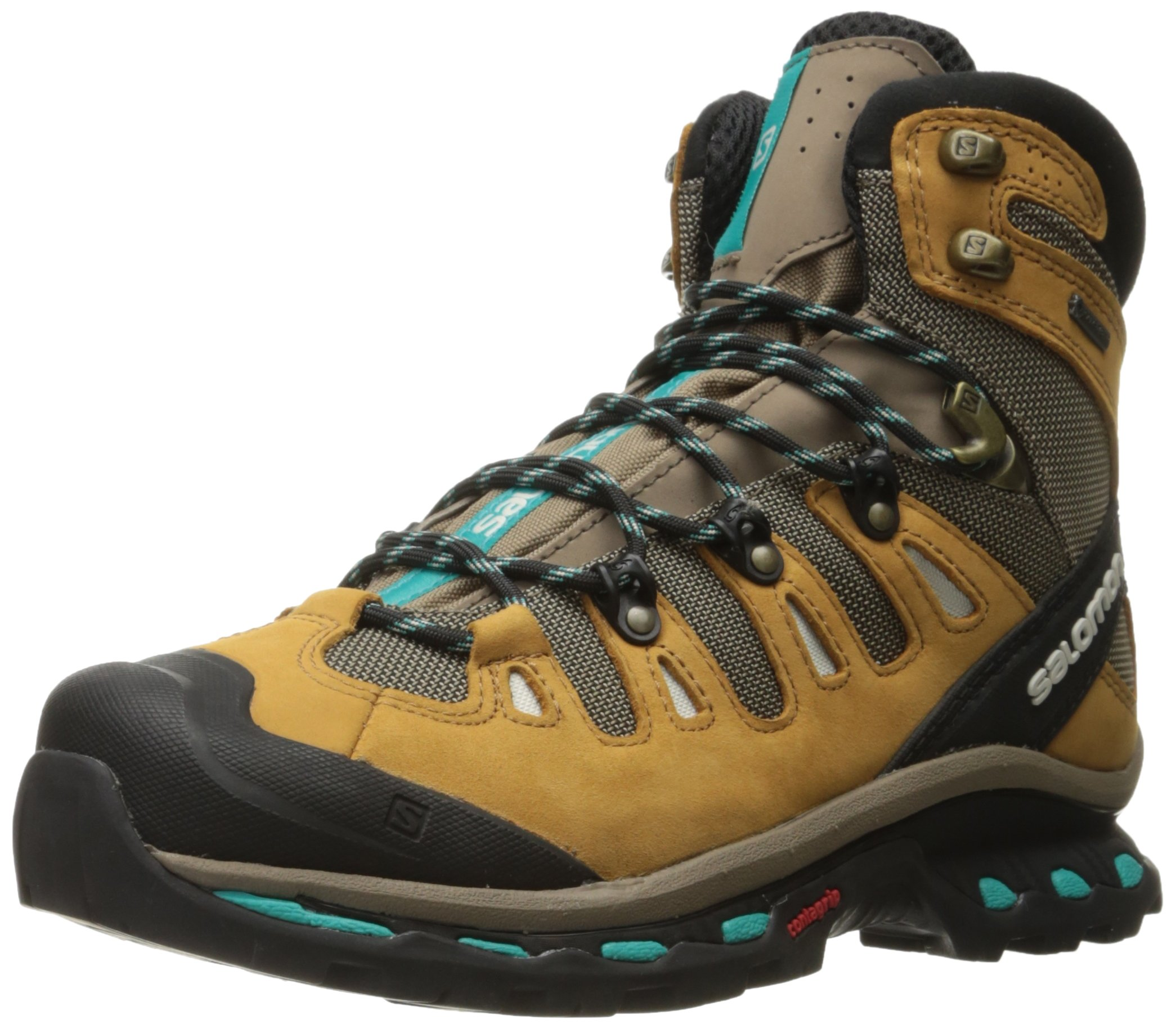 Salomon Women's Quest 4d 2 Gtx W Backpacking Boot, Shrew/Camel Gold Leather/Teal Blue Fabric, 8.5 M US by Salomon (Image #1)