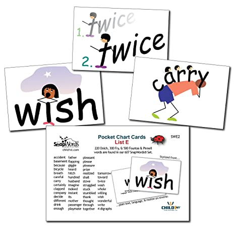 amazon com snapwords list e sight word pocket chart cards toys games