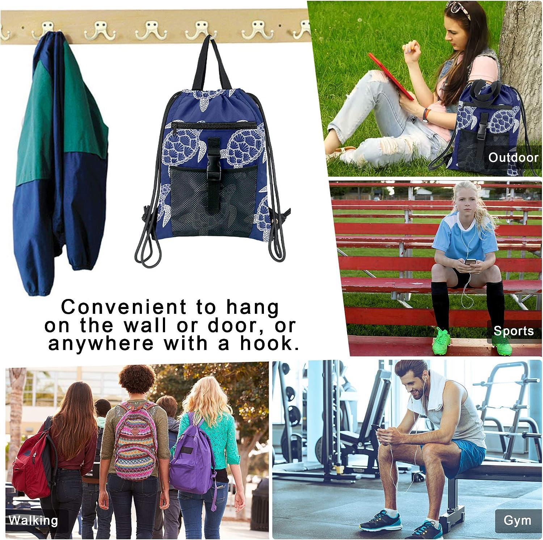 Drawstring Bag for Gym with Front Zipper Pocket String Backpack Mesh Buckle Navy Turtel Pattern Cinch Bag Women Men