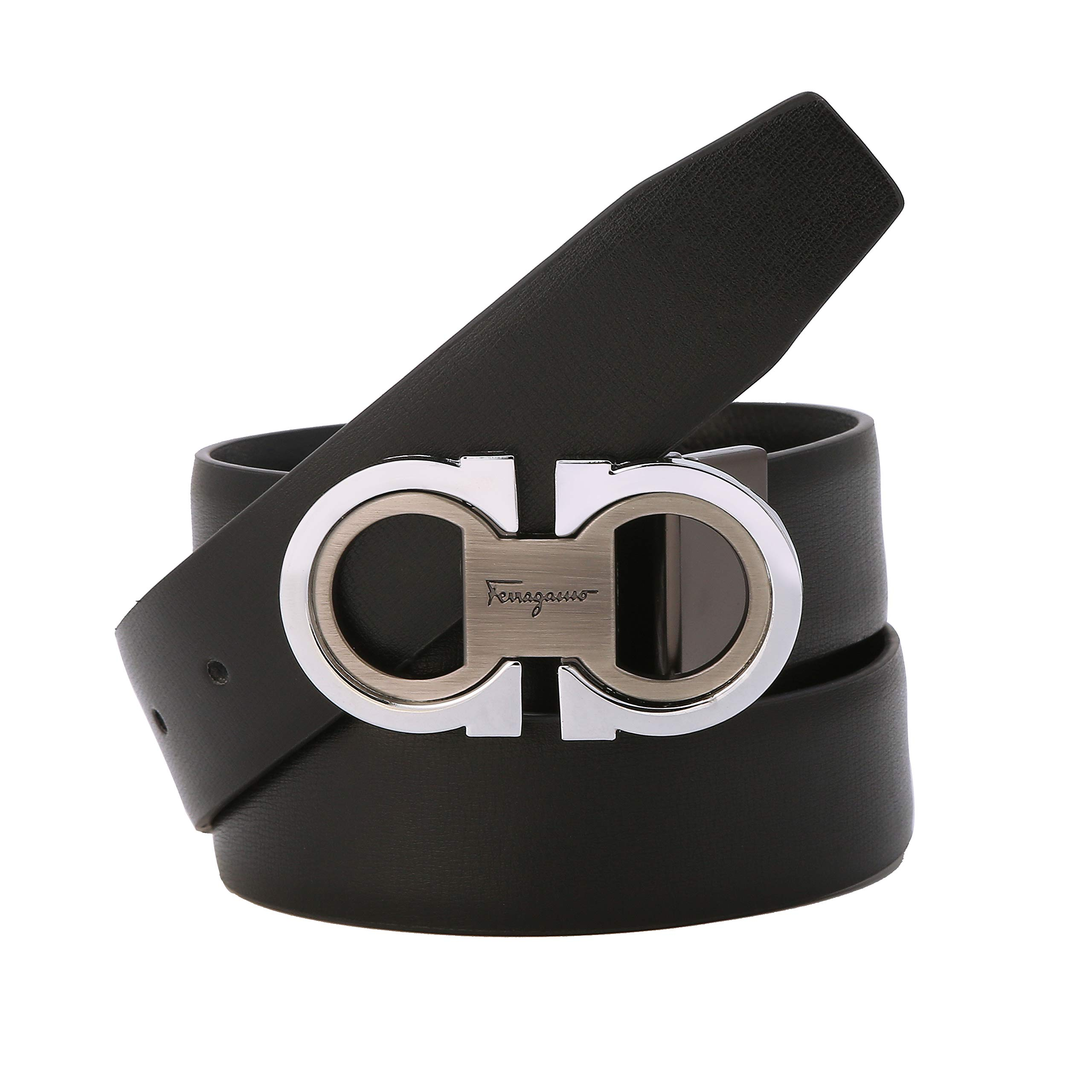07c54fb0039 Men s Fashion Comfort Genuine Leather Belt Adjustable Buckle  (2-black-silver