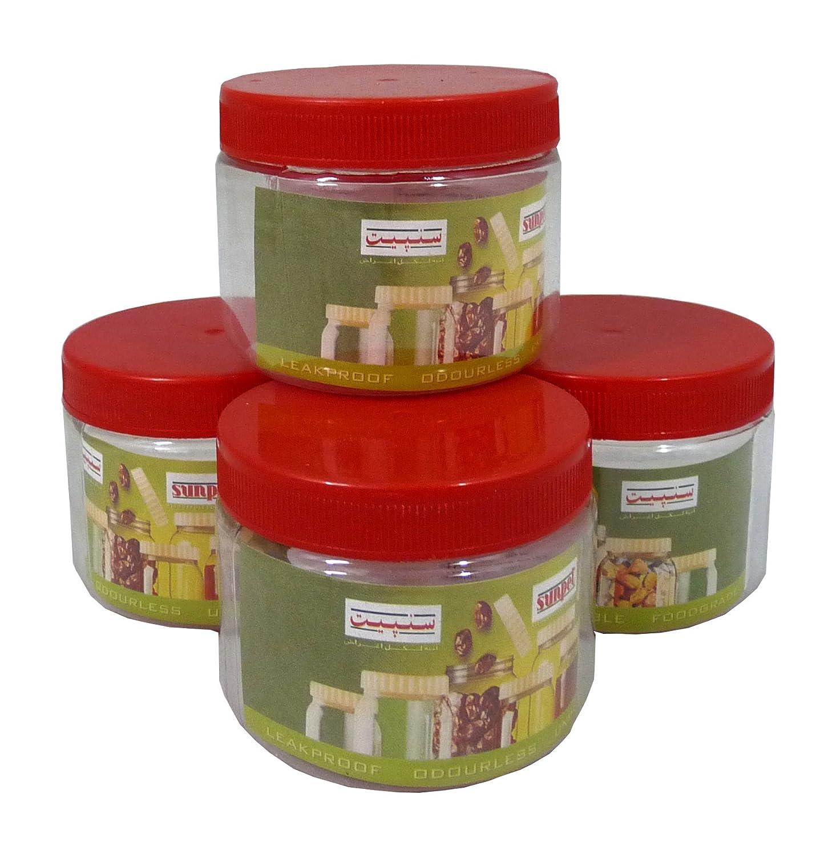Sunpet Set Of 4 200ml Red Top Plastic Food Storage Canisters Jar Kitchen:  Amazon.co.uk: Kitchen U0026 Home