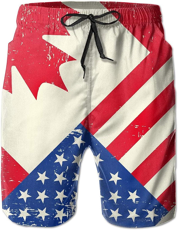 HONGZHESM Mens Vintage Canadian American Flag Summer Quick Dry Beach Shorts Medium