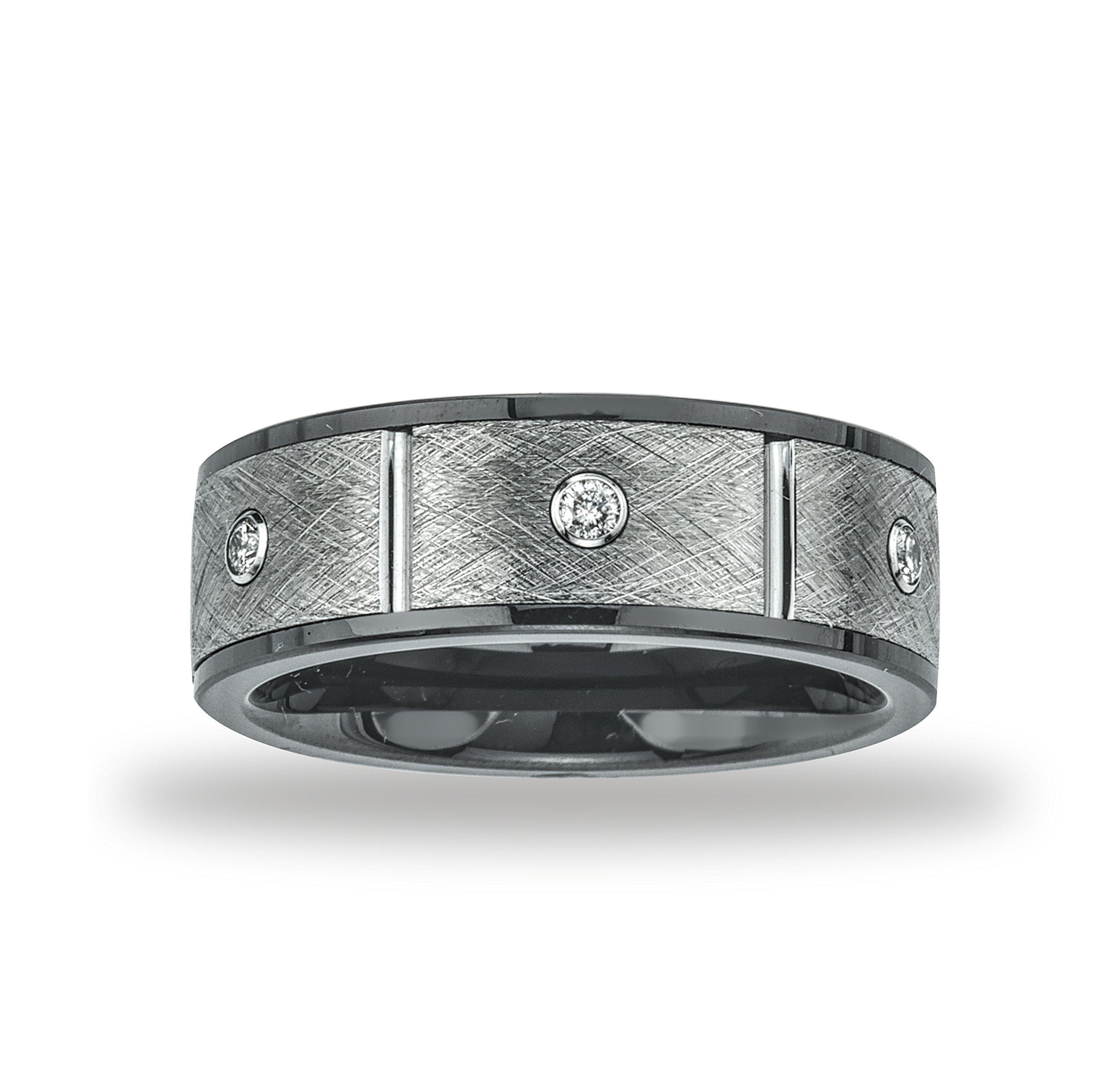 Mens Ceramic and Tungsten 8mm 1/5ct TDW Diamond Band (H-I, I2-I3)
