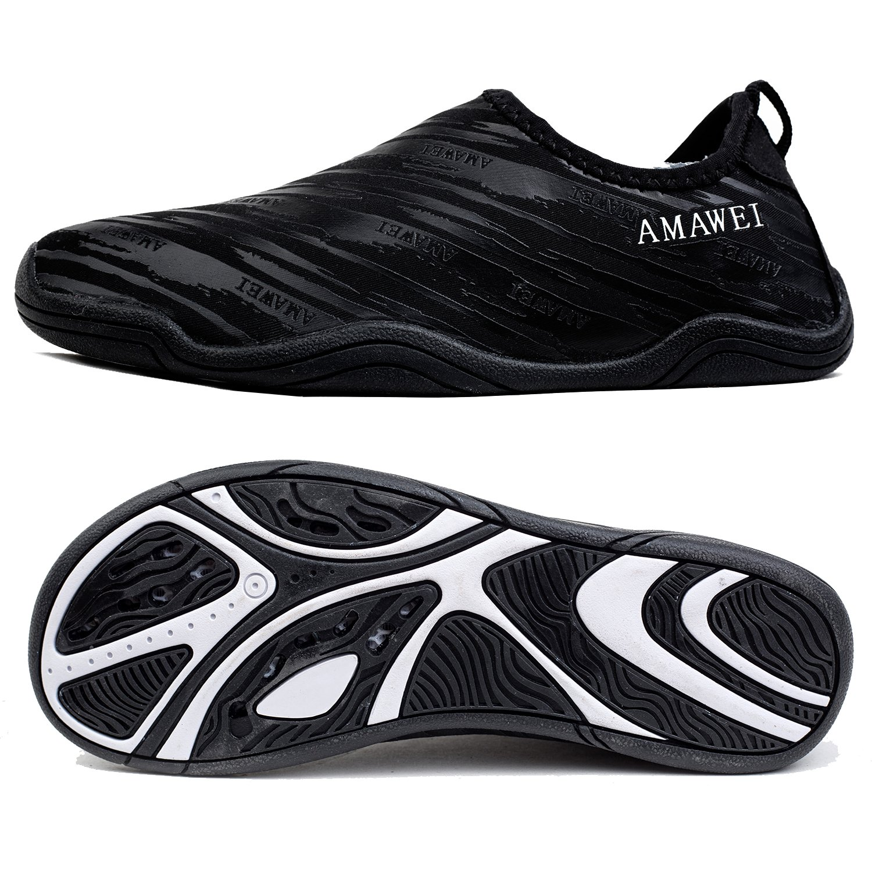 AMAWEI Water Shoes for Boys Girls Kids Quick Dry Beach Swim Sports Aqua Shoes for Pool Surfing Walking B07C2H8XRD 6 M US Big Kids/7 (B) M Women Black