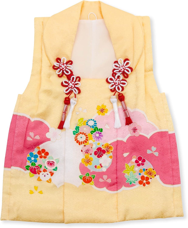 七五三 3歳 三歳 正絹 被布コート 単品 女の子 クリーム 梅 菊 3390-00014
