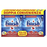 Finish All in 1 Max Pastiglie Lavastoviglie, Lemon, 72+12 Tabs