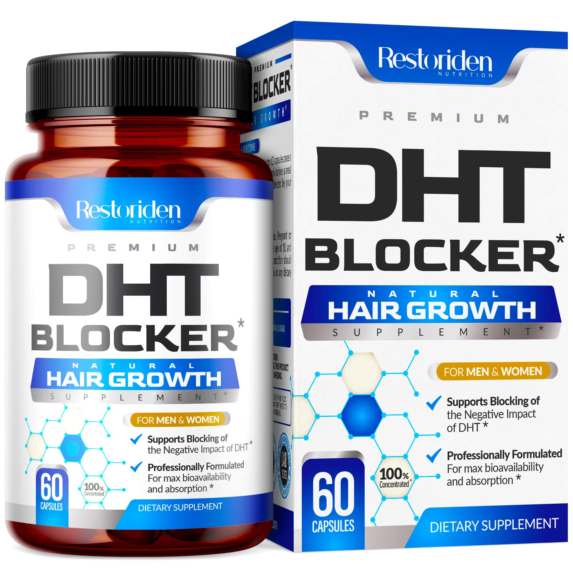 Restoriden DHT Blocker Hair Loss Supplement - Supports Healthy Hair Growth - Helps Stimulate New Hair Follicle Growth - With High Potency Biotin and Saw Palmetto - For Men And Women - One Month Supply