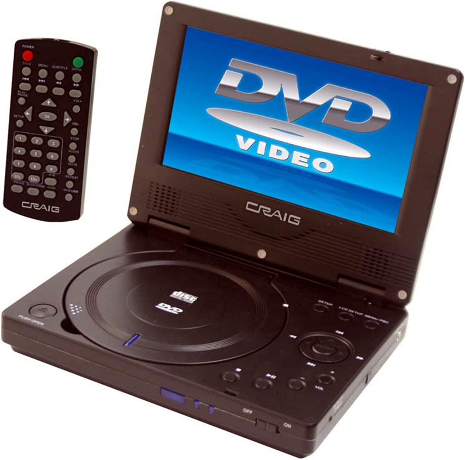 Craig 7-Inch TFTSWIVEL SCREEN Portable DVD/CD Player with Remote, Black (CTFT716n)