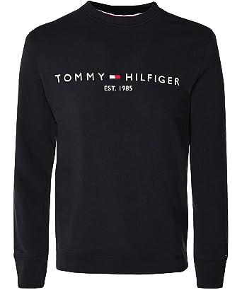 67597b28ed89e Tommy Hilfiger Hommes Sweat-Shirt Logo Ras du Cou Noir: Amazon.fr:  Vêtements et accessoires