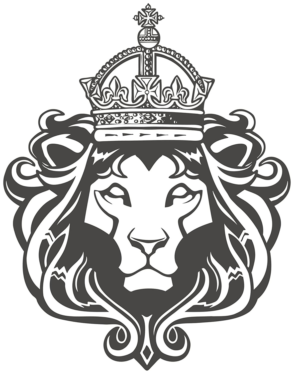 Amazoncom Royal Lion With Crown And Mane Black White Vinyl Decal