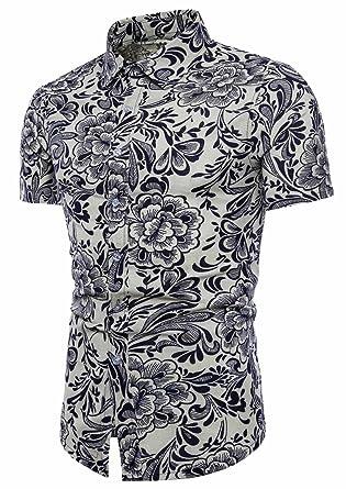 f8df36c070a AIEOE Men s Button Down Shirt Slim Fit Floral Pattern Non-Iron Dress Shirt  Black L