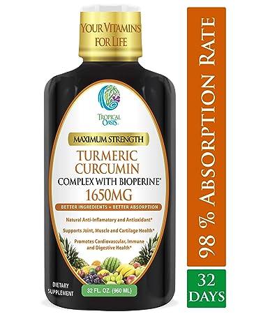 Liquid Turmeric Curcumin w Bioperine 1650mg Maximum Strength Highest Potency of Turmeric, Black Pepper Vitamin C Anti-Inflammatory, Joint Support Pain Relief 98 Absorption Rate 32 Serv
