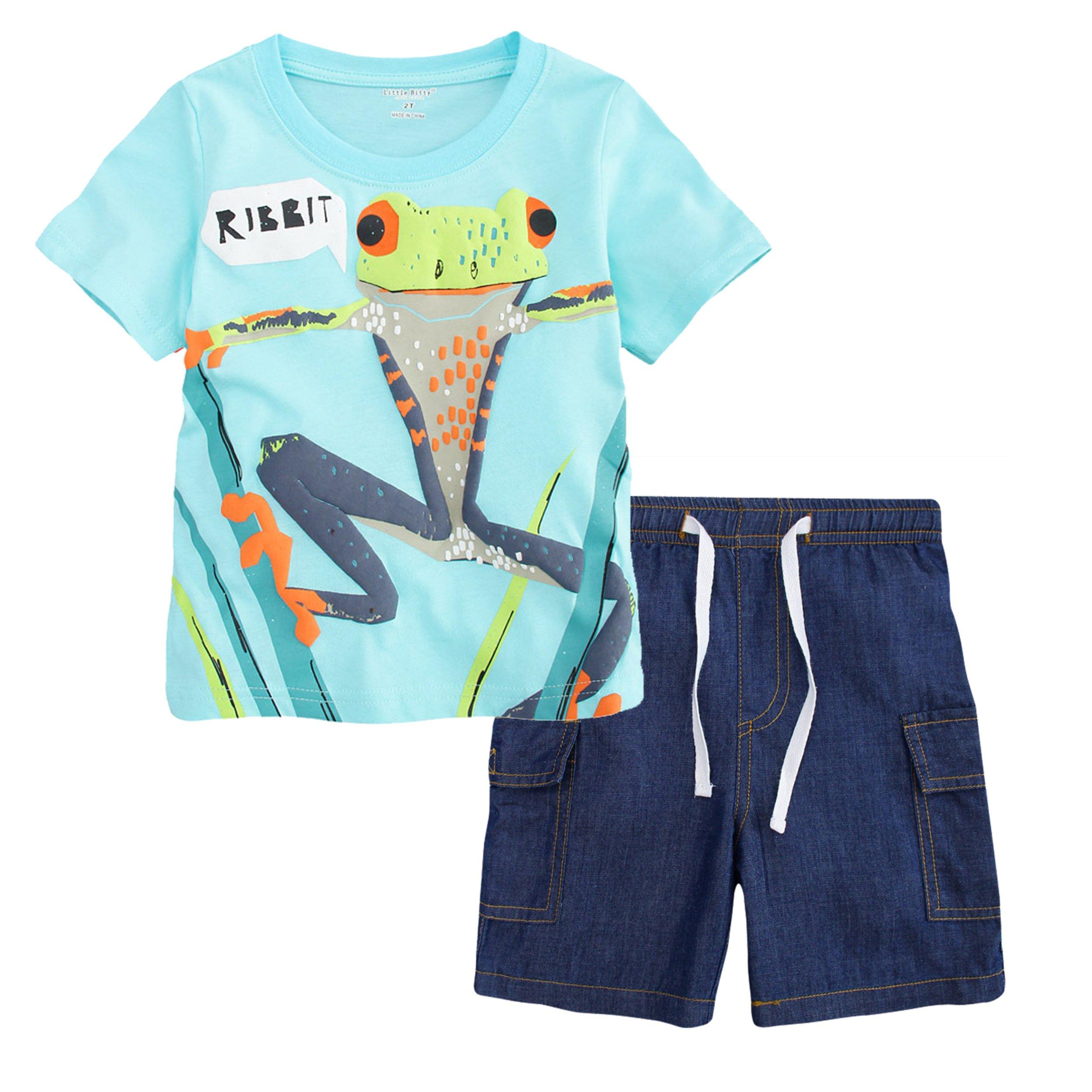 Little Bitty Little Boy Short Set Summer Cotton Clothing Set Shorts Set Blue 4T