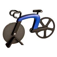 ECENCE Couteau à Pizza en Forme de Vélo Découpe Pizza Acier Inoxydable avec Revêtement Antiadhésif et Support Bleu 22020301