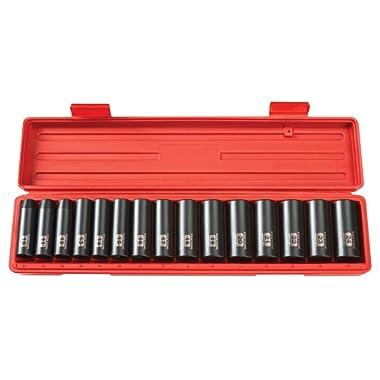 TEKTON 1/2-Inch Drive Deep Impact Socket Set, Metric, Cr-V, 6-Point, 10 mm - 24 mm, 15-Sockets   4883