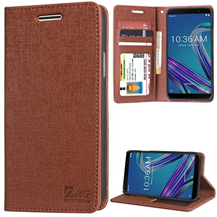 cheap for discount 90289 522e0 DMG PU Leather Wallet Flip Cover Stand Case for Asus Zenfone Max Pro M1  (Texture Brown)